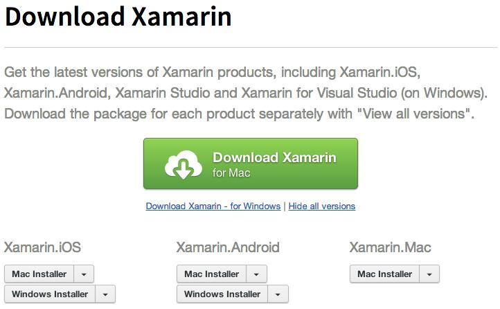 Xamarin Downloads Page