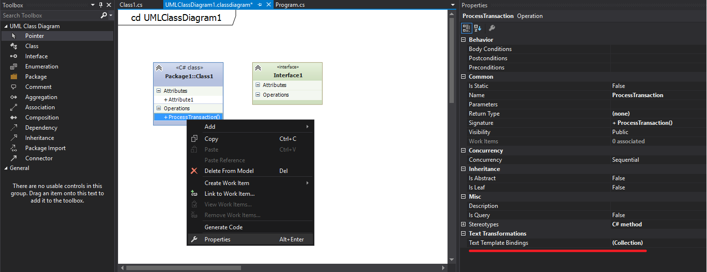 How much can Visual Studio generate code from UML diagrams?