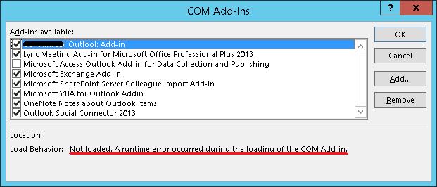Not loaded : a run-time error occurred during the loading of