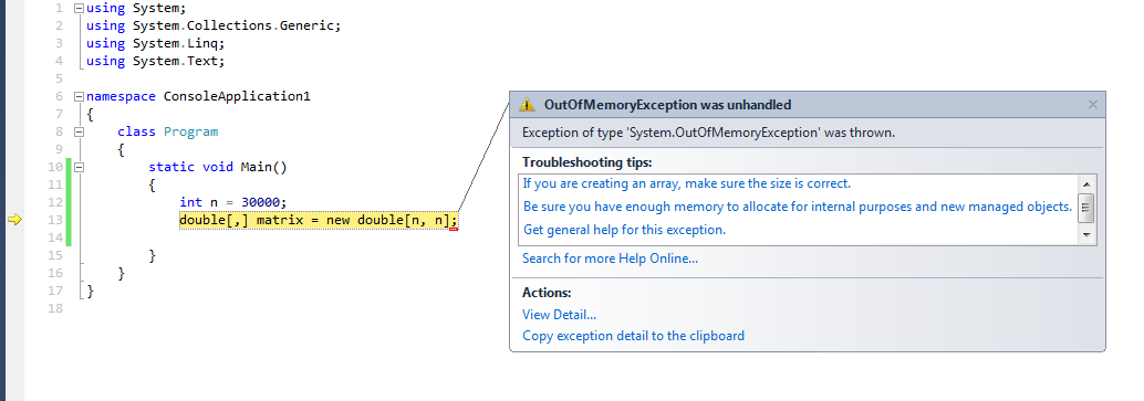 Screenshot of VS showing the OOM exception