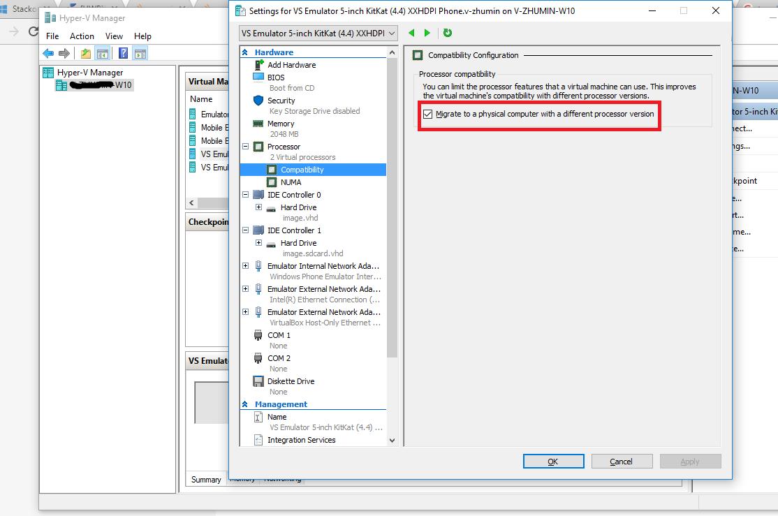 how to run an emulator on hyper v