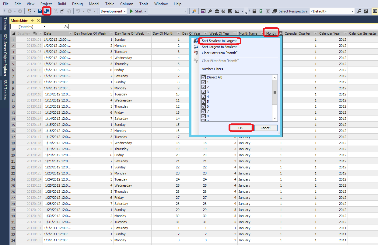 How to change sort order of tables and attributes in SSAS