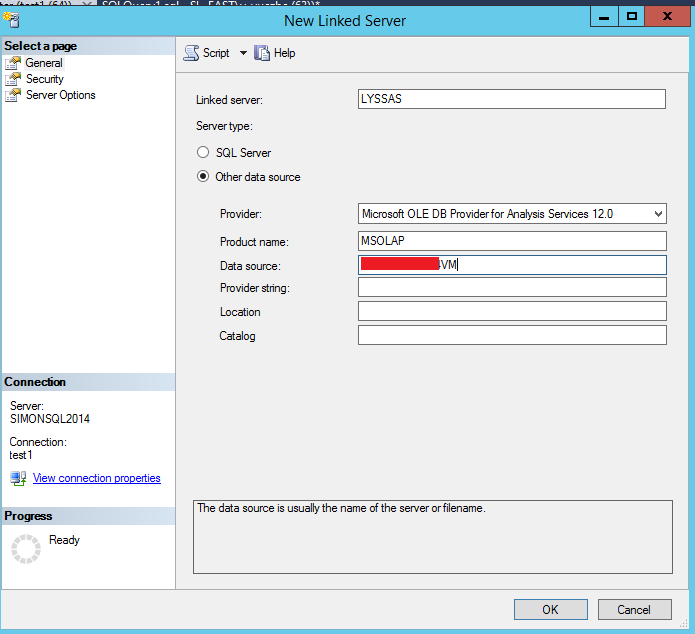 Creating Linked server to SSAS