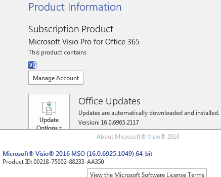 Visio 2016 64 bit styles and themes are not populating