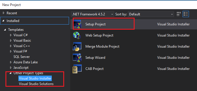 Setup Project in Visual Studio 2017 for Deployment