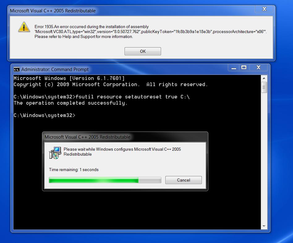 VC++ 2005 Redistribuatble error