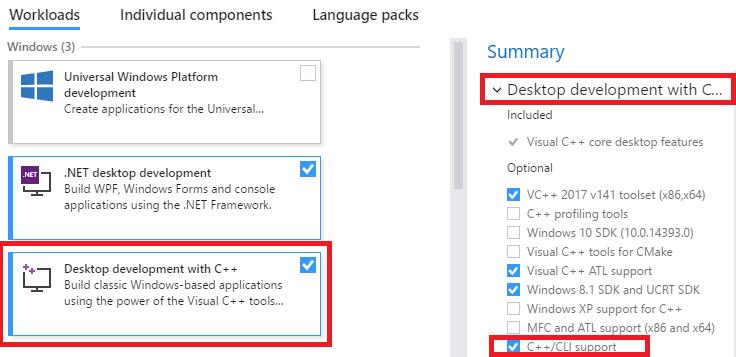 Visual Studio 2017 - CLR Missing