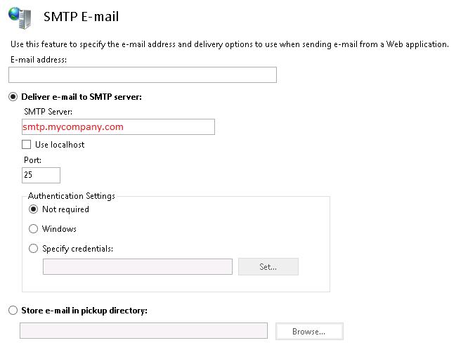 IIS SMTP Setting