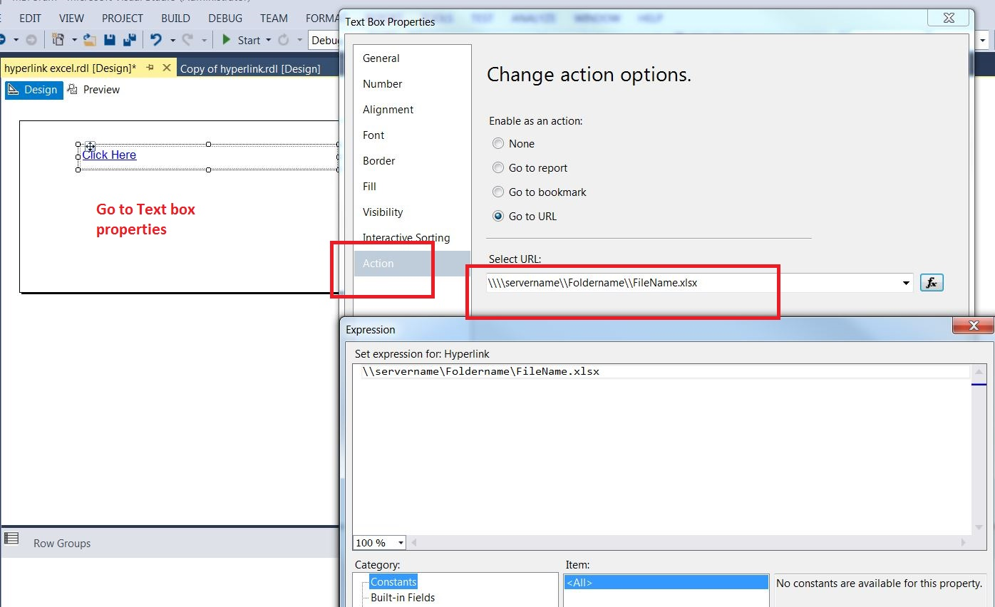 Create a link to open up Excle file from SSRS report