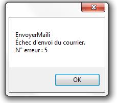 Echec d'envoi du courrier