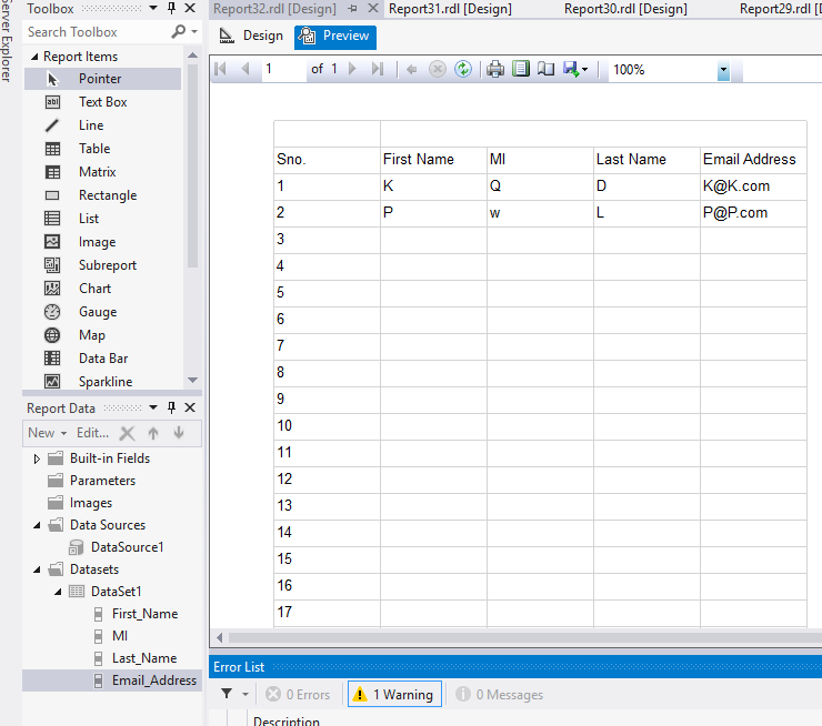 Auto row number in ssrs table if records are blank for Table th scope row