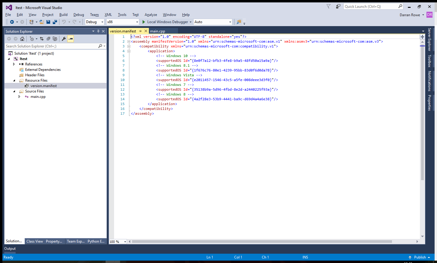 manifest file and embed in application ...