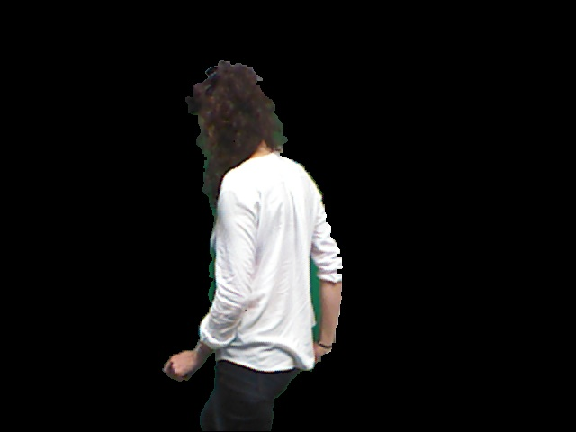 x,y,z positions of only foreground objects detected using kinect