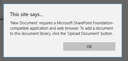 SharePoint Online - 'New Document' requires a Microsoft