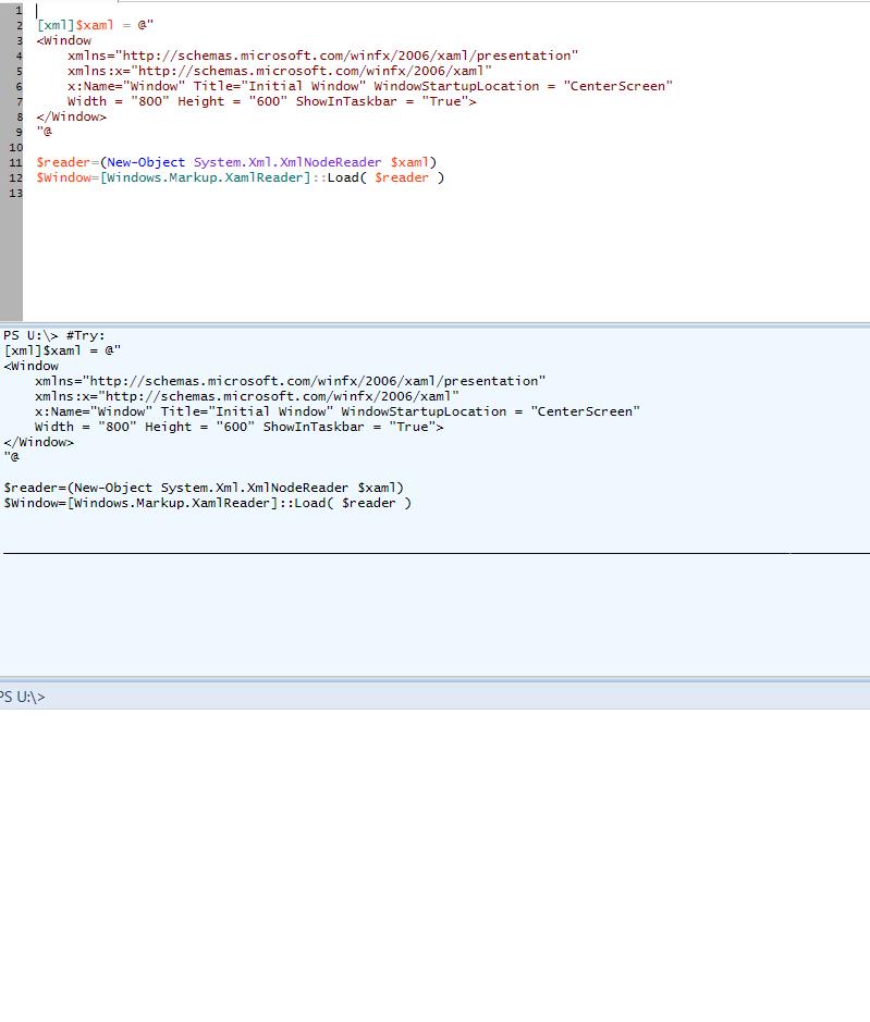 Error when running XAML script with powershell