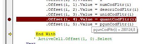 Valor da variável pçunCodFltr(i) = 280124,8