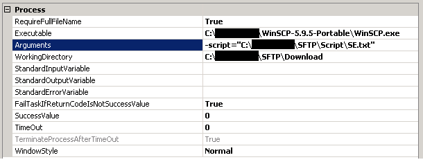 Execute Process Task configuration for WinSCP