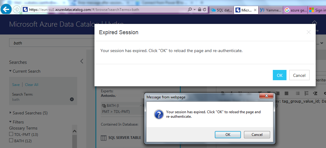error message after session expired