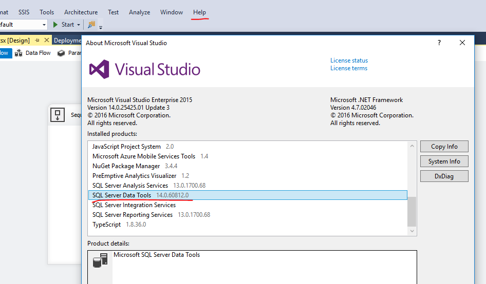 Find out the version of SSDT-BI for visual studio 2015