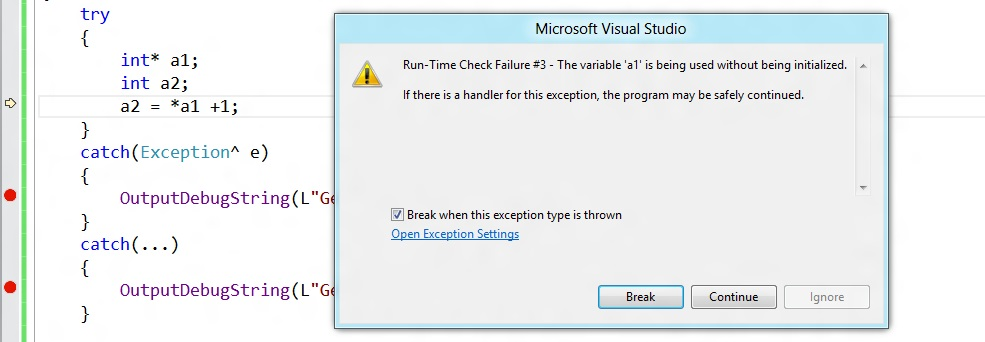 why show the dialog run time check failure if there is a handler