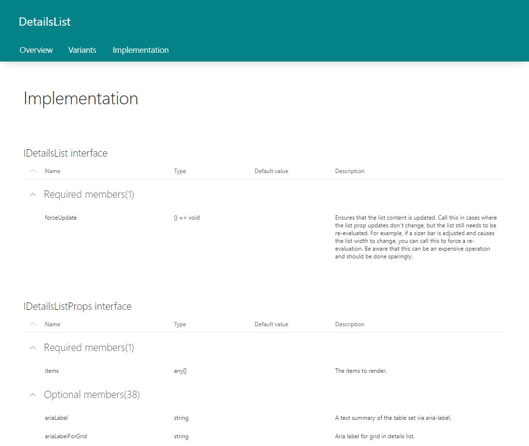 Office UI Fabric React DetailsList CheckBox