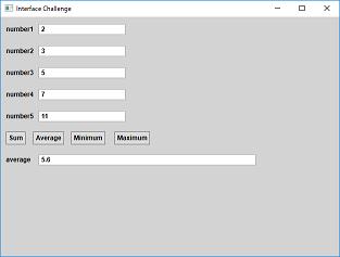 Screen shot of a program Interface Challenge