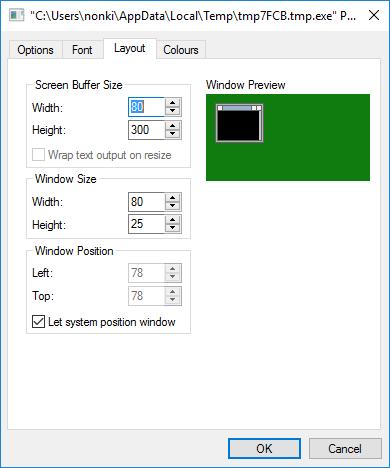 Screen shot of the Properties menu of TextWindow