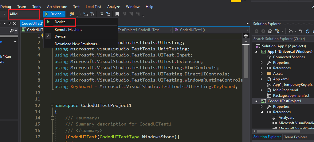 Where is CodedUI Test for Windows Phone App project template