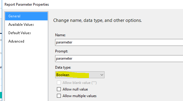 SSRS 12 - Visibility Expression based on Boolean Parameter
