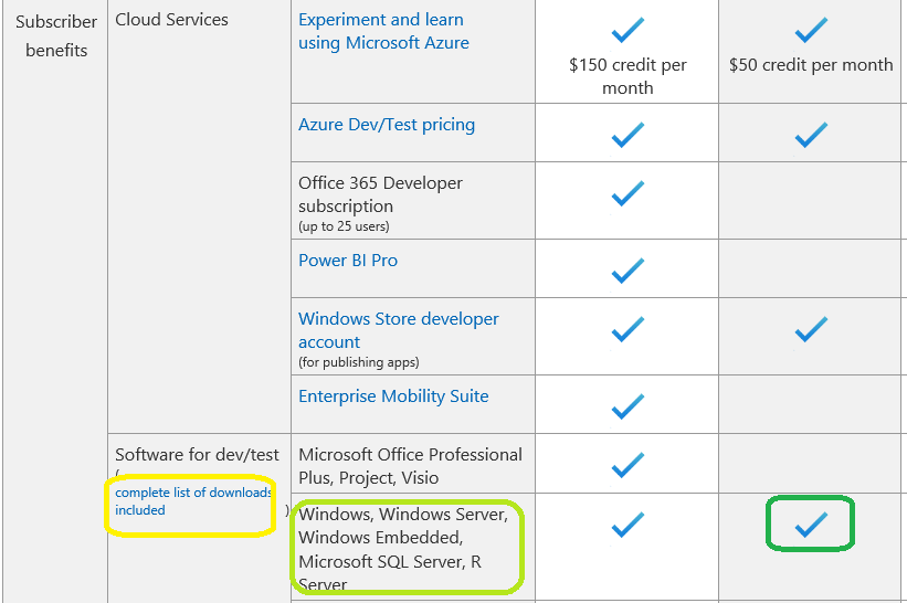 If I have Visual Studio Pro Sub MSDN, Can I use SQl server standard