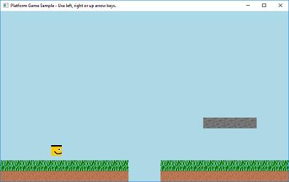Screen shot of a program Platform Game Sample 0.5b