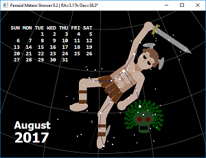 Screen shot of a program Perseid Meteor Shower 0.2