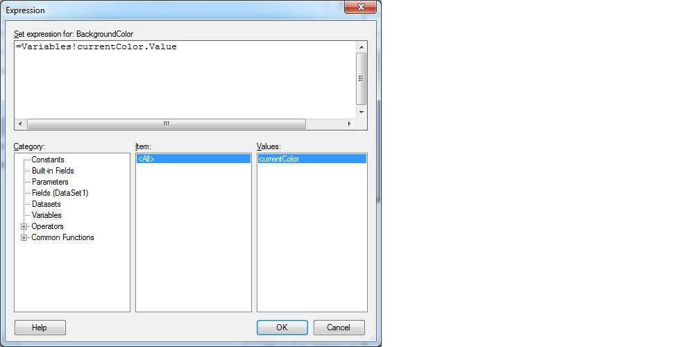 Usando variáveis do usuário em expressões no Reporting services