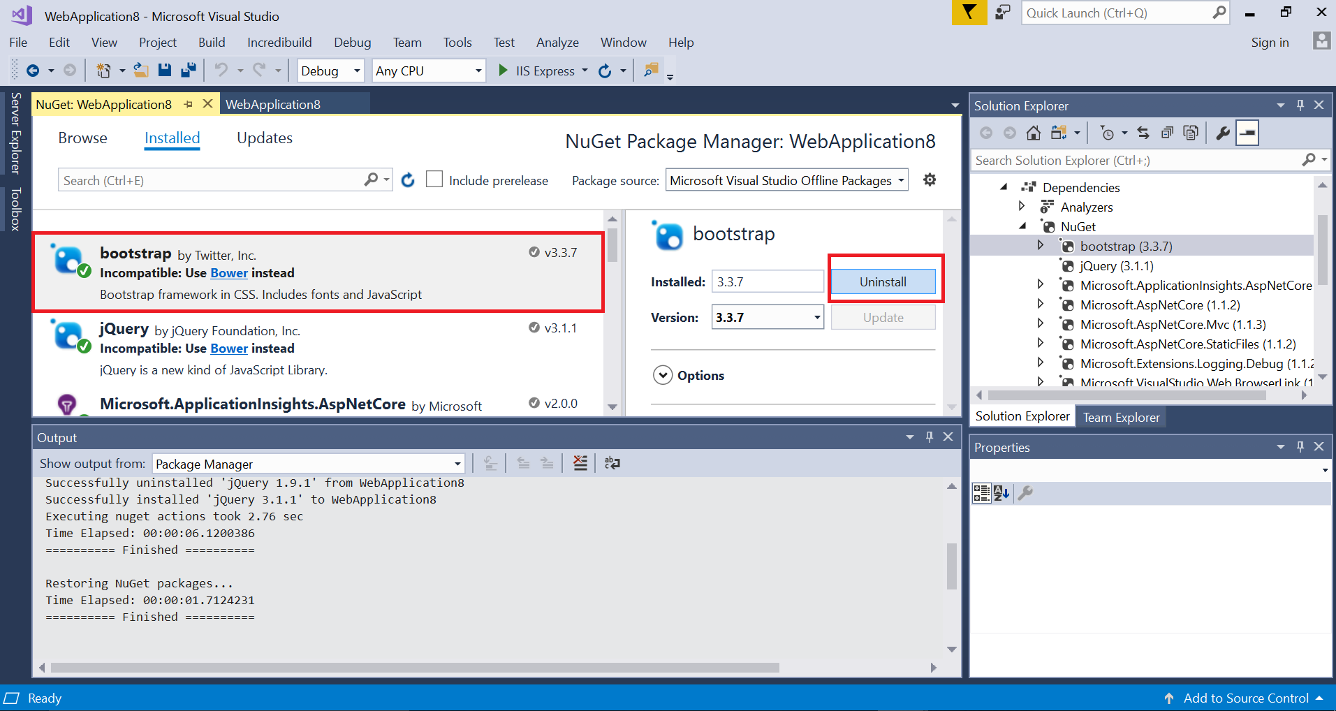 How to uninstall NuGet packages while that package not available in