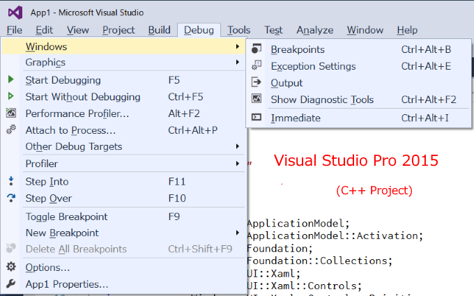 Disassembly window in Visual Studio Express 2017