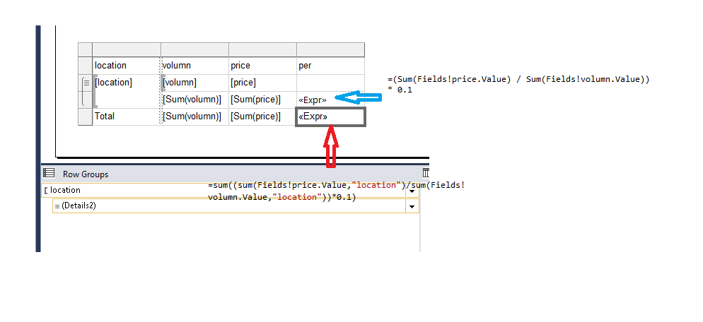 how to get total for an expression field in ssrs