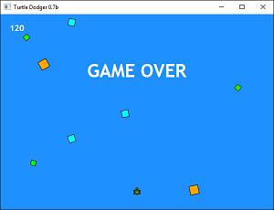 Screen shot of a program Turtle Dodger 0.7b