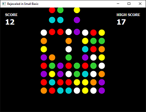 Screen shot of a program Bejeweled in Small Basic 0.1a