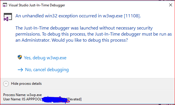 An unhandled win32 exception occured in w3wp.exe[11108]