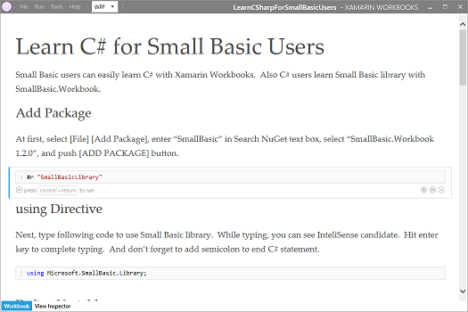 Screen shot of Xamarin Workbooks contains tutorial to learn C# for Small Basic users