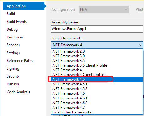 MSBuild referencing assemblies with wrong target Framework version