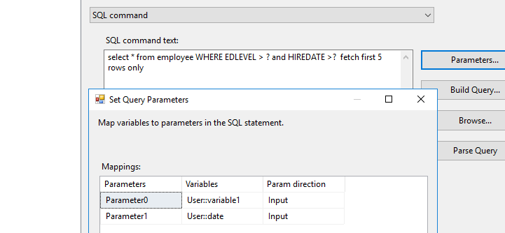 How to pass date or parameters to SQL DB2 query via OLEDB