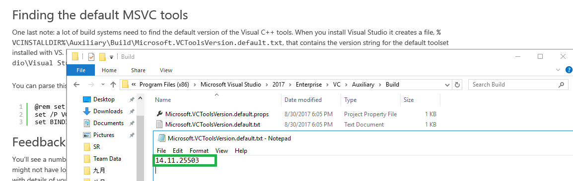 Does Visual Studio 2017 come with Visual C++ 14 1 or 14 10?