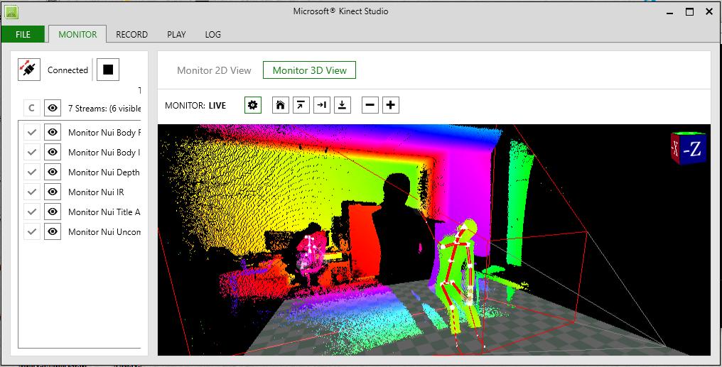 Screenshot of 3D view shown in Kinect Studio
