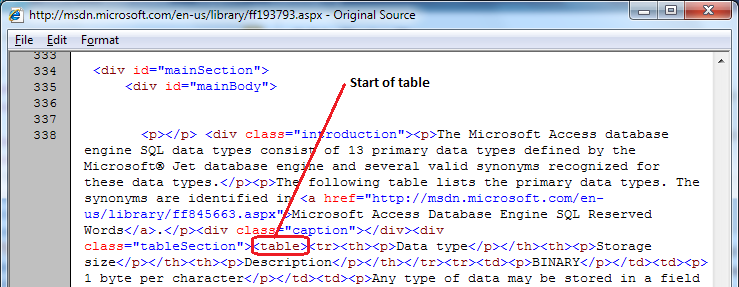 Pasting Data from HTML Table directly into Access 2010