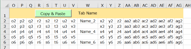VBA code to copy and paste data according to tab names