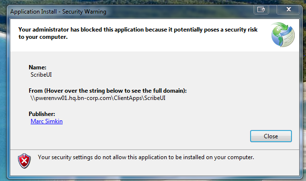 clickonce application install security warning administrator