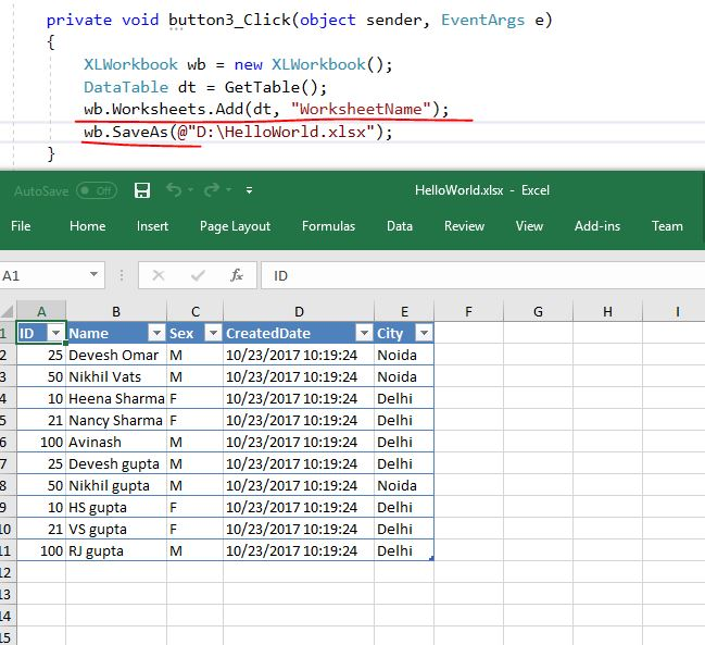 Create excel from C# datatable morethan 70,000 records without looping