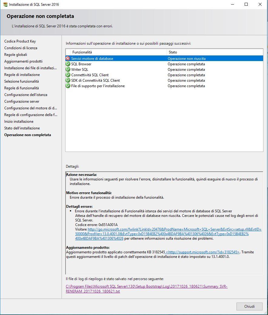 SQL Server 2016: Could Not Find Database Engine Startup