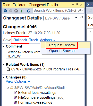 How to easily open the Changeset details tab in Team Explorer